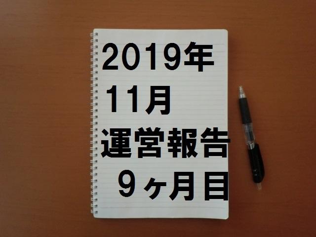 2019年11月(9ヶ月目)の運営報告です。