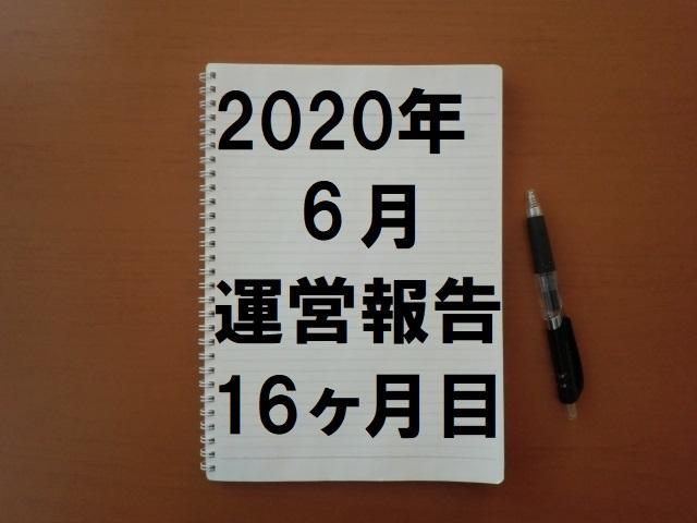 2020年6月(16ヶ月目)の運営報告です。